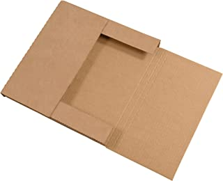 Boxes Fast BFM12121K Corrugated Cardboard Easy-Fold Mailers, 12 1/2 x 12 1/2 x 1 Inches, Fold Over Mailers, Adjustable Die-Cut Shipping Boxes, Multi-Depth, Large Kraft Mailing Boxes (Pack of 50)