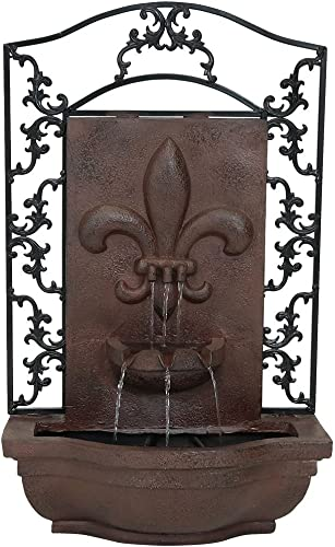 2021 Sunnydaze 2021 French Lily Solar Powered Outdoor Wall Water Fountain with Battery Backup, Pump and Panel - Patio outlet online sale Waterfall Feature - Weathered Iron - 33-Inch online sale