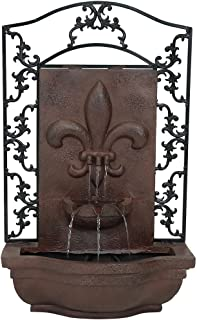 Sunnydaze French Lily Solar Outdoor Wall Fountain, Iron, Solar on Demand Feature