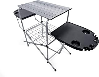 Camco Deluxe Foldable Outdoor Grilling Table with Side Tables & Cup Holders  - Excellent for Tailgating, Camping, Parties, The Beach & More! | Includes Storage Bag |Measures 59