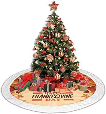 SAIKOUNOYA Merry Christmas Tree Skirt,Maple Leaf Dark Brown Turkey Tree Skirt for Festive Holiday Party Decoration