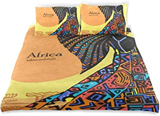 OSBLI Bedding Duvet Cover Set 3 Pieces African Woman Sun Bed Sheets Sets and 2 Pillowcase for Teens
