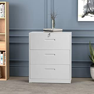 Lateral File Cabinet 3 Drawers with Lock Heavy Duty Metal File Cabinets with Drawers Not Assembled Black 35.4