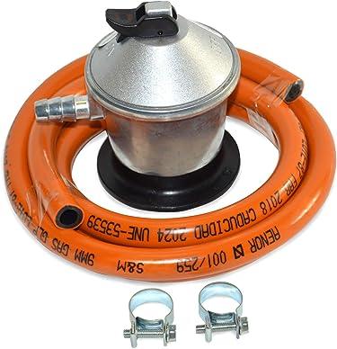 S/&M 322150 Kit Regulador de Gas para bombona de butano de Camping Est/ándar Gris//Naranja Tubo 1,5 Metros +2 Arandelas
