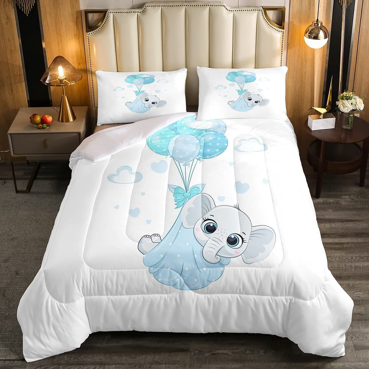 Elephant Baby Comforter Set Twin Cute Safety and Recommended trust Cartoon Duve Size