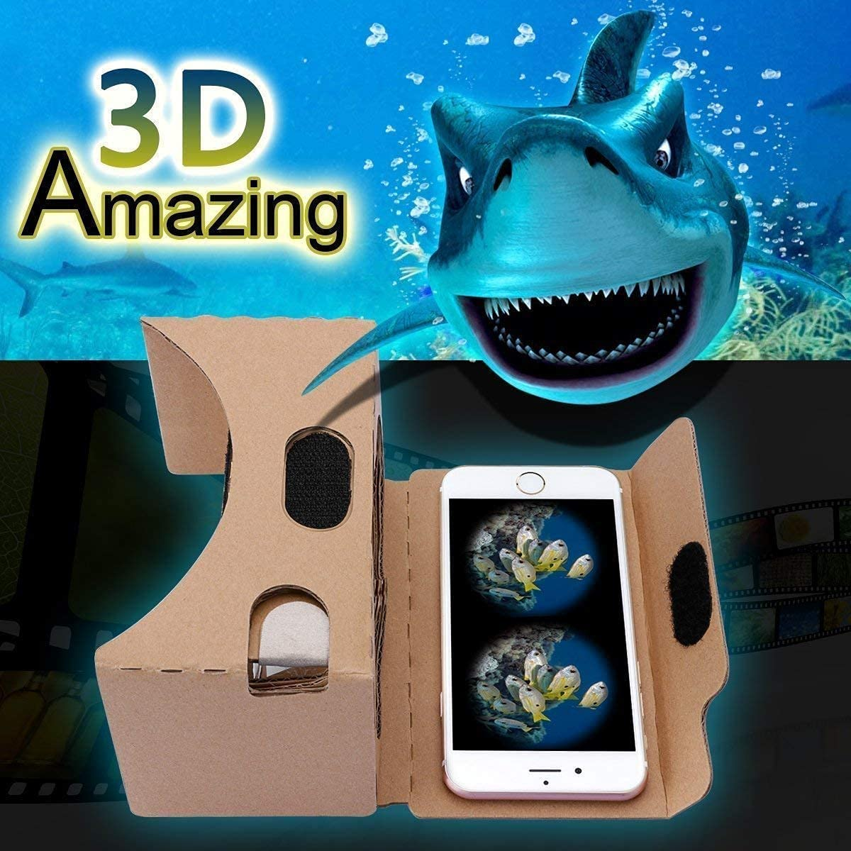 Google Cardboard,VR Headsets 3D Box Virtual Reality Glasses with Big Clear 3D Optical Lens and Comfortable Head Strap for All 3-6 Inch Smartphones (Yellow, 1 Pack)