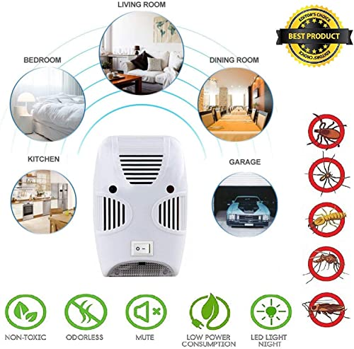 ZIZLY Ultrasonic Pest Repeller Repellent, Home Pest Control Reject Device Non-Toxic Spider Lizard Mice Repellent Indo...