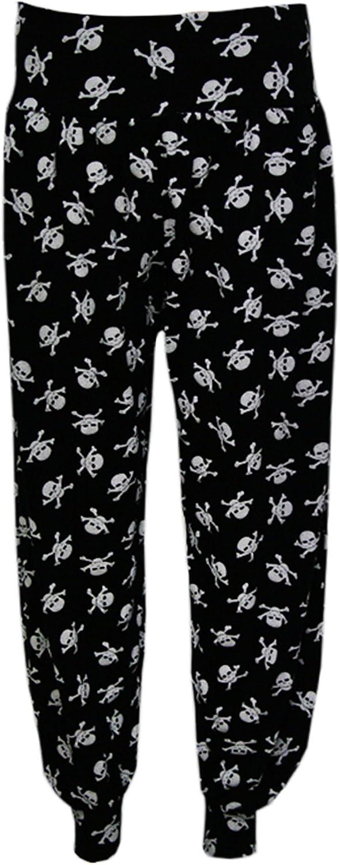 WearAll Plus Size Harem Skull Cross Moustache Print Womens Trousers Long Full Baggy Ladies Pants Sizes 12-26