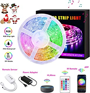 LED Strip Lights, AUSPICE Color Changing RGB 16.4ft Flexible LED Rope Light, IP65 Waterproof 300 LEDs 4 Modes with IR Remote Controller and APP Control, 12V Power Supply for Home Decoration, Parties
