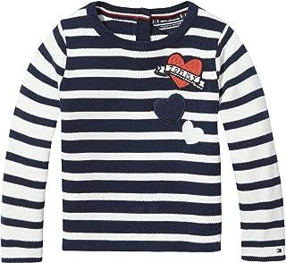 Tommy Hilfiger Little Stripe Sweater for Girls - 12 Months; Navy Blazer/Marshmallow