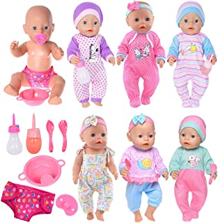 josy 6 Sets Doll Clothes+2 Feeding Bottles+1 Plate+1 Diapers+2 Spoons+1 Nipple Accessories for 43cm New Born Baby Dolls