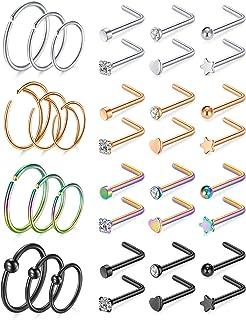 مايهوب 20 جرام الفولاذ المقاوم للصدأ خاتم الأنف هوب خواتم الأنف الأزرار ثقب هوب مجوهرات للنساء الرجال 30-36 قطعة