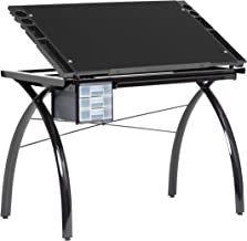 Studio Designs Futura Modern Glass Top Adjustable Drafting Table Craft Table Drawing Desk Hobby Table Writing Desk Studio Desk with Drawers, 38''W x 24''D, Black / Black Glass