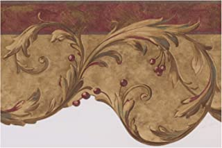 Damask Vines Red Berries Red Trim Abstract Wallpaper Border Retro Design, Roll 15' x 7