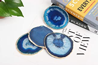 JIC Gem Golden Plated Dyed Blue Agate Coasters, 4 pcs set, 3-4, with Rubber Bumper