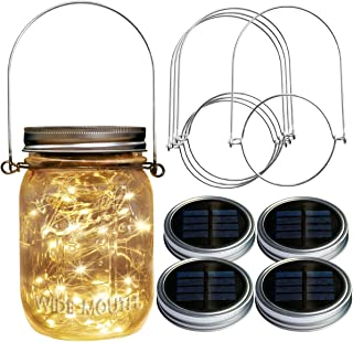Homeleo 4 Pack Wide Mouth Mason Jar Solar Led Lights Insert Screw with Hangers, Warm White Waterproof Solar Fairy Lights for Outdoor Garden Decor Christmas Holiday Wedding Party(Jars Not Included)