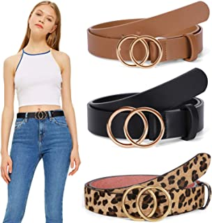 Women PU Leather Belt, WERFORU Fashion Belt with Double O Ring Gold Buckle for Jeans Dresses (Black+Brown+Leopard, Suit fo...