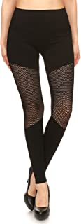 Womens Sexy Black Leggings Cutouts with See Through Slashes Stretchy Slit Bottoms Pants