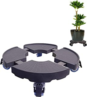 C CASIMR Heavy Duty Plant Stand with Wheels, 440lbs Capacity,15-19 Inch Adjustable Indoor/Outdoor Caddy Round Flower Pot R...