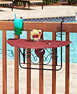 The Lakeside Collection Folding Deck Tables for Balcony Railings and Patio Fences - Red