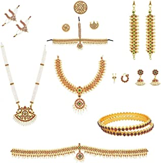 Fashionatelier bharatanatyam Dance Set for Women (10 Items)