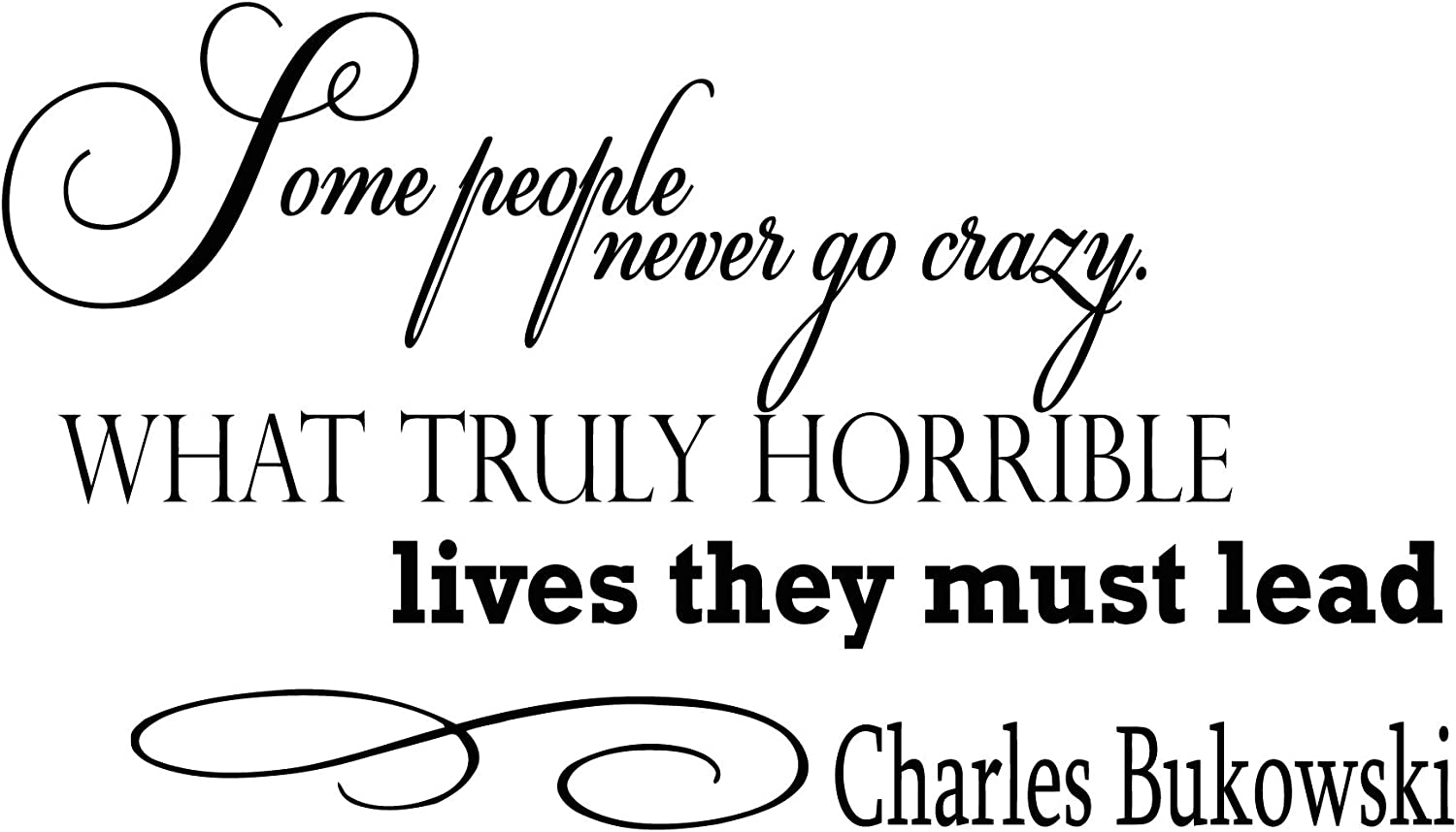 Wall Vinyl Decal Quote Sticker Home Decor Art Mural Some People Never go Crazy. What Truly Horrible Lives They Must Lead Charles Bukowski Z121