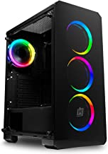 Deco Gear Mid-Tower PC Gaming Computer Case Full Tempered Glass and LED Lighting - Mini-ITX, Micro-ATX, ATX - Includes 4 120mm Cooling Fans w/Expansion for Two More, 7 Expansion Slots, 4 Drives