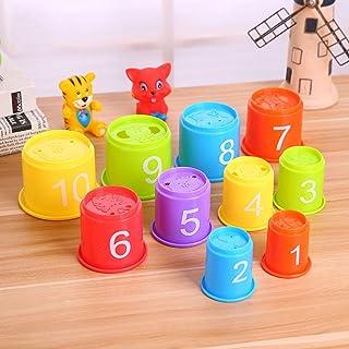 TOYANDONA Baby Stacking Cups Bath Toys 11Pcs - BPA Free Animal Stacking and Nesting Game