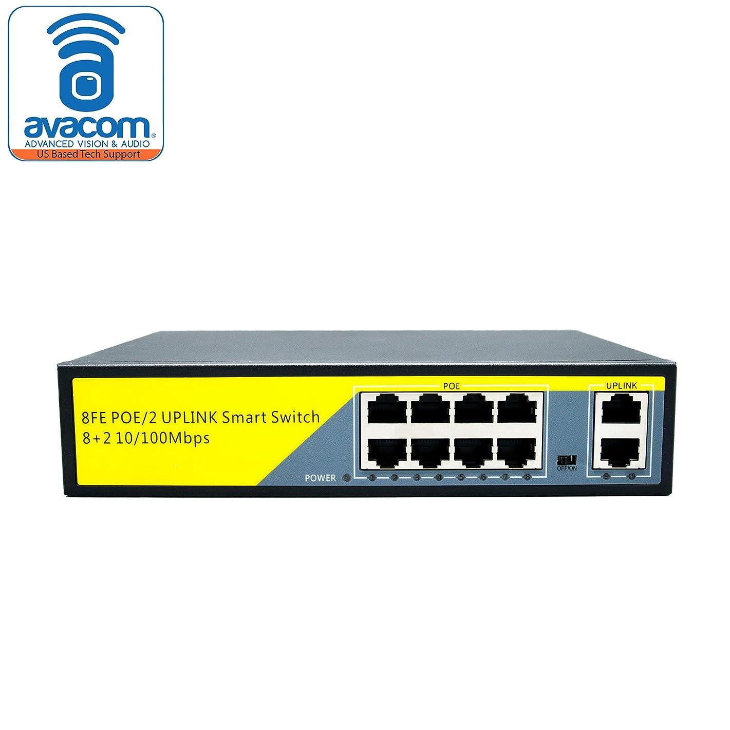 AVACOM Uplink 10-Port PoE Ethernet Switch with Metal Housing, Unmanaged, 802.3AT, 802.3 AF 800 feet (1010B)