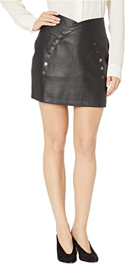 Pleather Button Front Mini Skirt