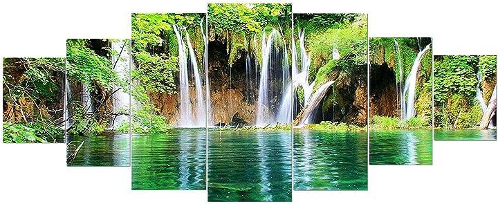 Grande quadro su vetro acrilico -cascata nella foresta - moderno stampa xxl di 7 parti 90 x 240 cm startonight B08XBGTY5Y