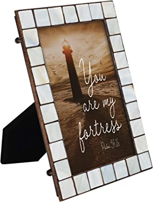 Cottage Garden My Fortress Mother of Pearl Amber 5 x 7 Table Top and Wall Photo Frame