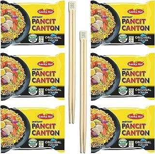 BWS Bamboo Chopsticks (2 Pairs) + Lucky Me! Pancit Canton (6-Pack) Filipino Chow Mein Soupless Ramen Noodles (Original)