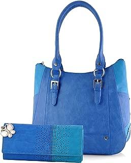 Butterflies Women's Handbag and Wallet Combo (Blue, Bns Wb0251)
