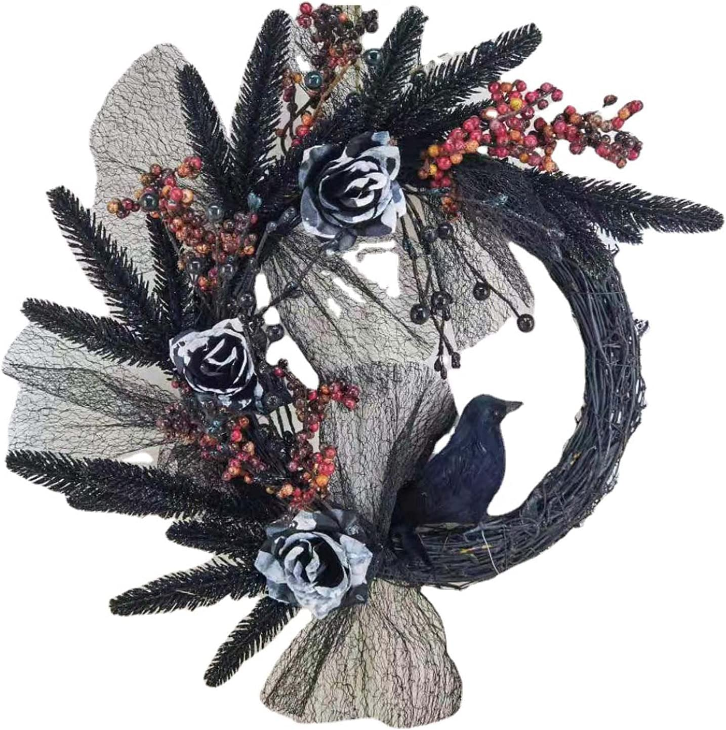 Happy Halloween Front Door Max 78% OFF Wreath Hallow with Attention brand Naughty Fake Roses