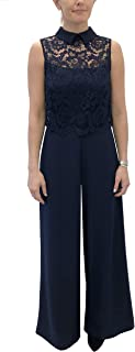 Julia Jordan Women's Lace Popover Bodice Sleeveless Jumpsuit with Collar