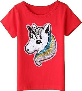 Girl's Unicorn Tee Shirts Kids & Toddler Summer Short Sleeve Flip Sequin T-Shirt Tops