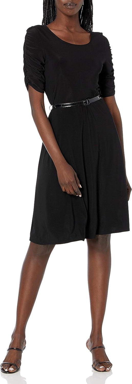 Star Vixen Women's Plus-Size Belted Skater Dress