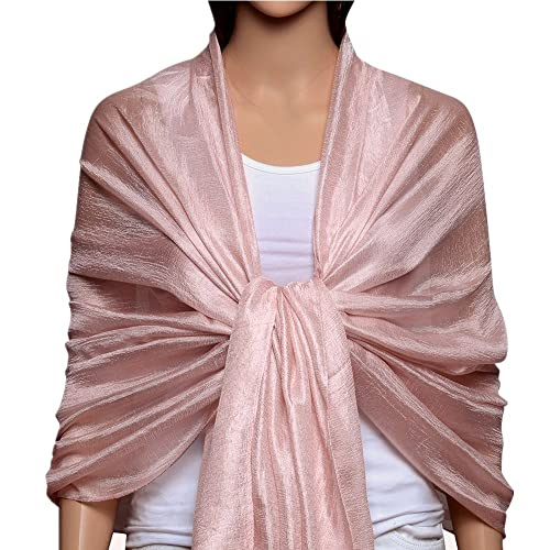 6aaf48f4ef7fc QBSM Women Silky Chiffon Long Scarf Wrap Fashion Lightweight Plain Neck  Solid Large Pashmina Shawl