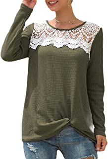 Women's Solid O-Neck Long Sleeve Lace Hollow Out Patchwork Tops