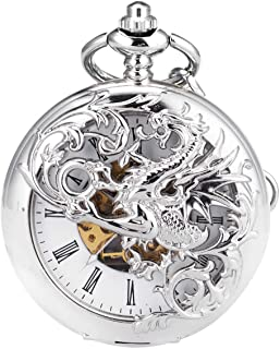 Mens Skeleton Mechanical Pocket Watch - Dragon Hollow Double Hunter Black Roman Numerals White Dial with Chain + Gift Box