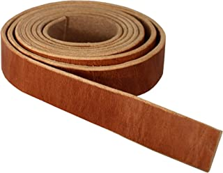 """Premium Hermann Oak Harness Leather Blank Strap, 100% Leather Strip, 10 Ounce Weight [5/32"""" or 4 MM Thickness] Fully Finished & Leveled, Natural Russet Color, Great for Tack Repair, 1.25"""" x 84"""""""