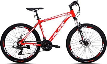 Hiland 26' Aluminum Mountain Bike with Disc Brake Shimano 24 Speeds Drivetrain, Free Kickstand Included, Two Frame Size,Black/Red