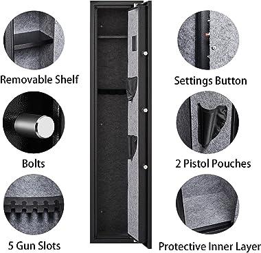 KAER Biometric Fingerprint Rifle Gun Safe & Cabinets,Quick access security gun cabinet for 3-5 home rifles,Built-in Pisto