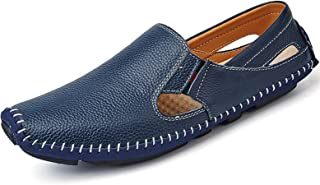TSIODFO Men Leather Driving Shoes Fashion Slippers Casual Slip on Walking Loafers Shoes Summer