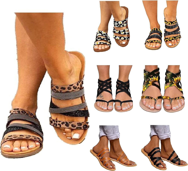 Sandals For Women Flat Leopard Sandals Open Toe Flip Flops Roman Strappy Shoes Casual Summer Beach Boho Sandals