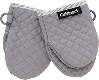 Cuisinart Silicone Mini Oven Mitts, 2pk - Little Oven Gloves for Cooking - Heat Resistant, Non-Slip Grip, Hanging Loop, 5.5 x 7.5 Inches - Ideal for Handling Hot Kitchen, Bakeware Items - Drizzle Grey