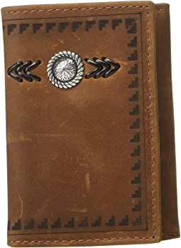 Aztec Arrow Lacing w/ Concho Trifold Wallet