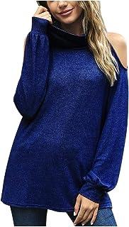 Xmiral Blouse Tops Vrouwen Effen Kleur Koude Schouder Lange Mouwen Coltrui Tops Elegante Kantoor T-Shirt