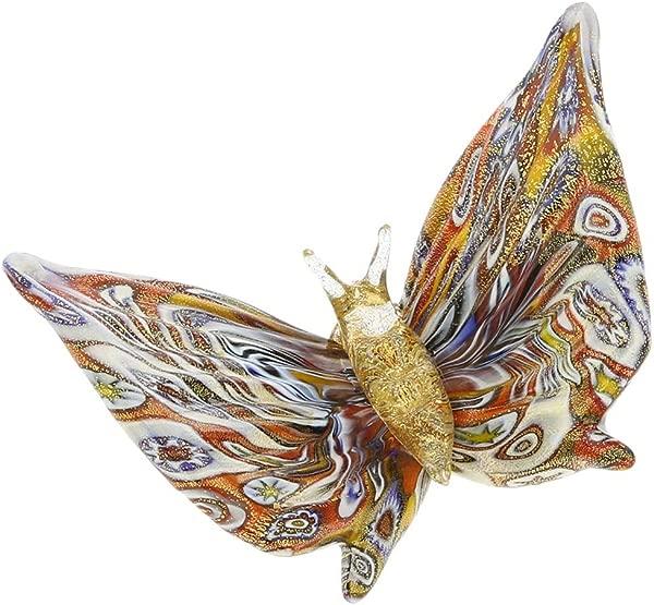 GlassOfVenice Murano Glass Golden Quilt Millefiori Butterfly